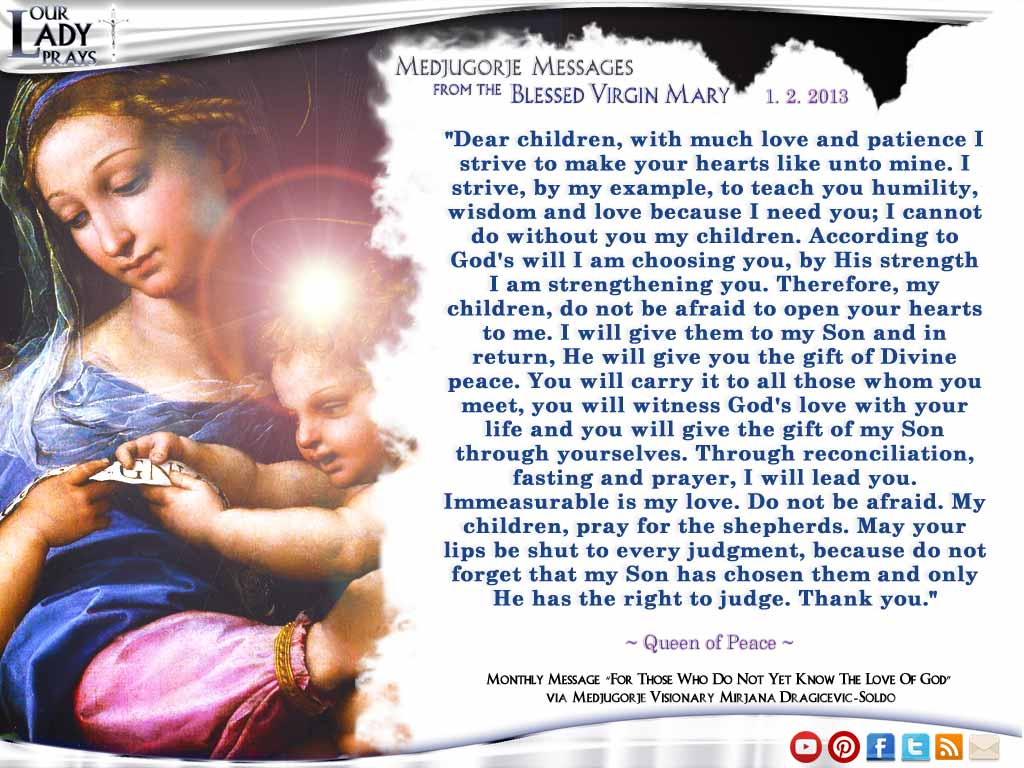 Medjugorje Message from the Blessed Virgin Mary January 2, 2013
