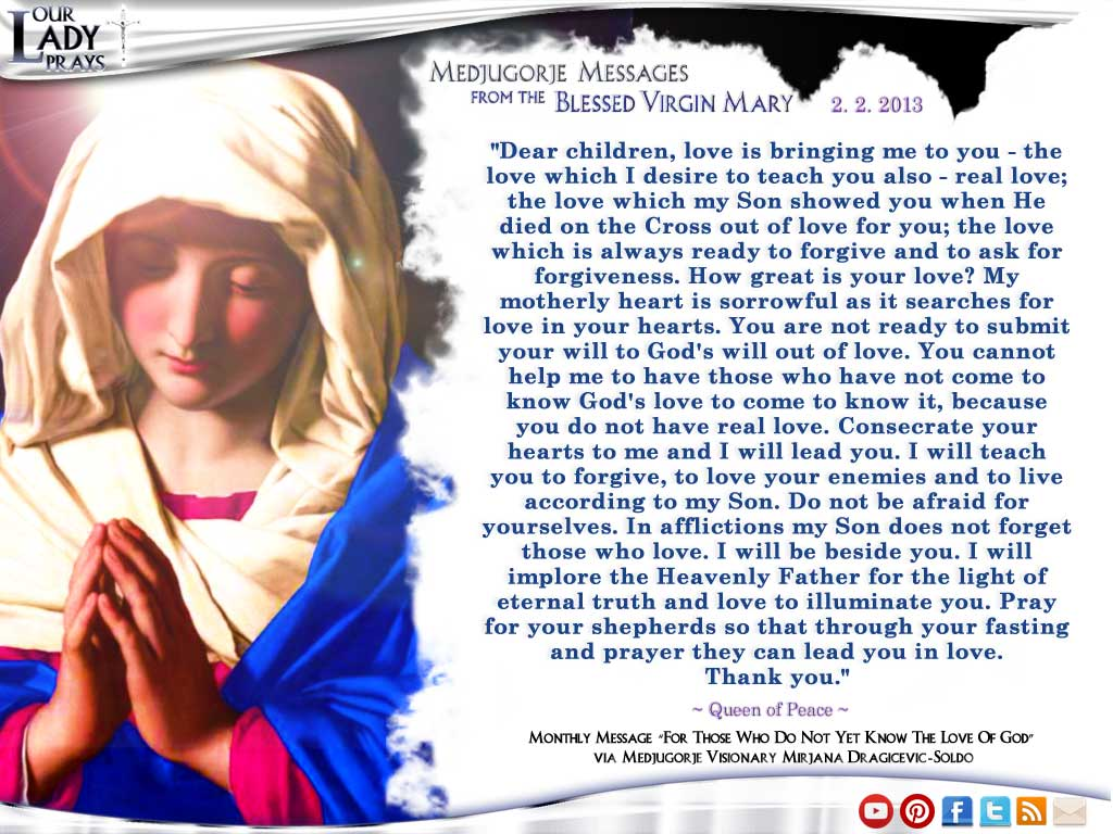 Medjugorje Message from the Blessed Virgin Mary February 2, 2013
