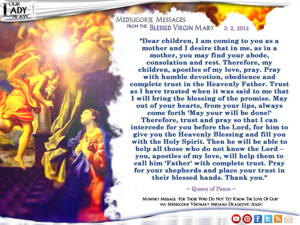 Medjugorje Message from the Blessed Virgin Mary March 3rd, 2014