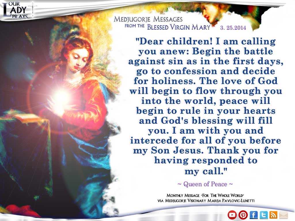 Medjugorje Message from the Blessed Virgin Mary March, 3rd 2014