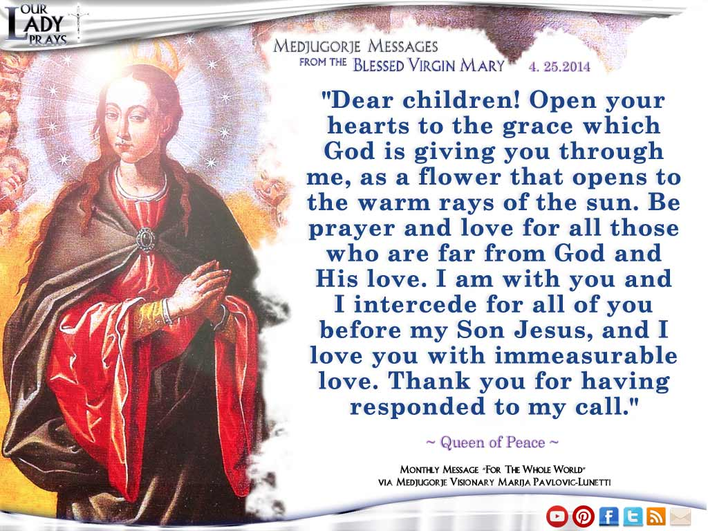 Medjugorje Message from the Blessed Virgin Mary April 25th, 2014