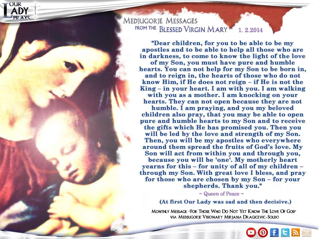 Medjugorje Message from the Blessed Virgin Mary January 2nd, 2014