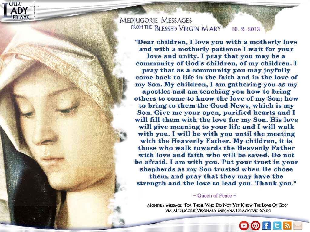 Medjugorje Message from the Blessed Virgin Mary October 2, 2013