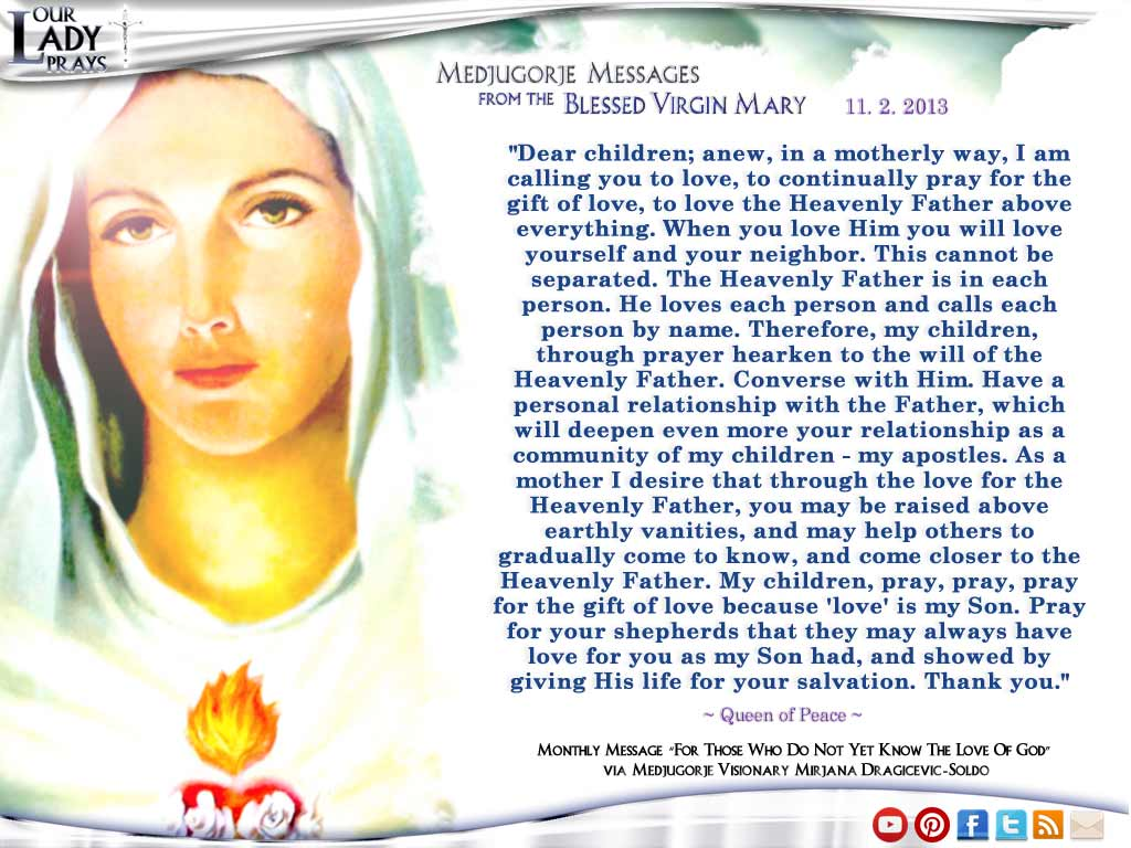 Medjugorje Message from the Blessed Virgin Mary November 2, 2013