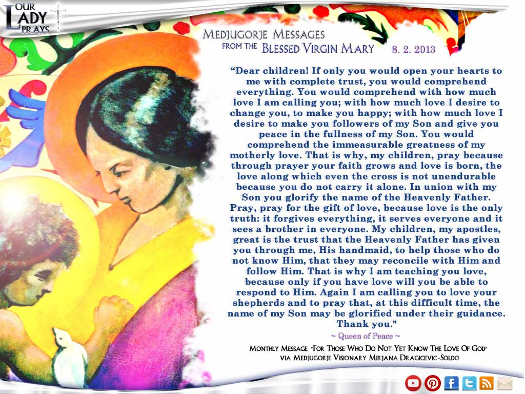 Medjugorje Message from the Blessed Virgin Mary August 2, 2013