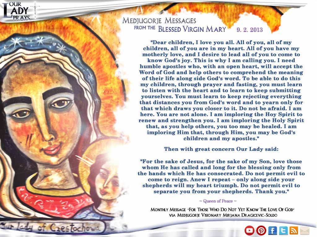 Medjugorje Message from the Blessed Virgin Mary September 2, 2013