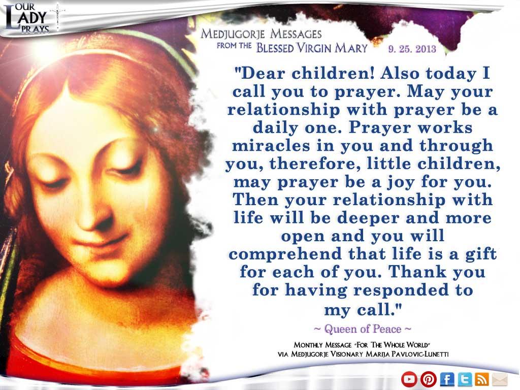 Medjugorje Message from the Blessed Virgin Mary September 25, 2013