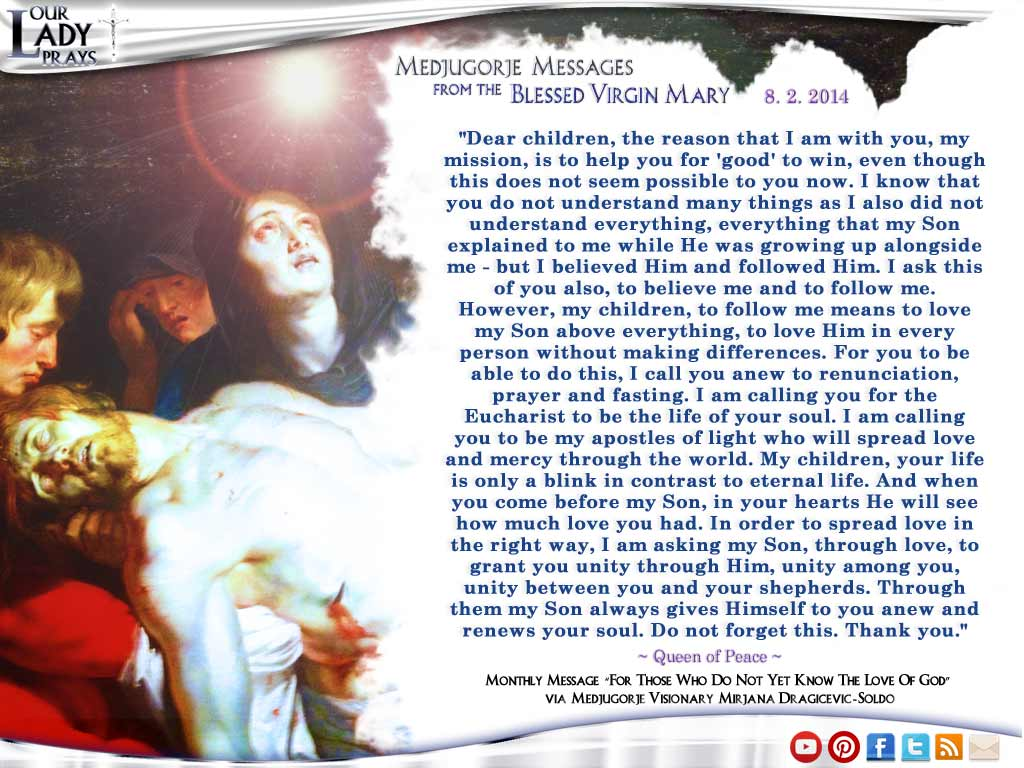 Medjugorje Message from the Blessed Virgin Mary August 2, 2014