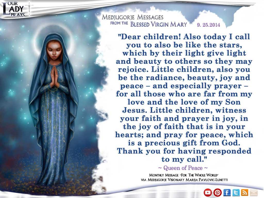 Medjugorje Message from the Blessed Virgin Mary September 25, 2014