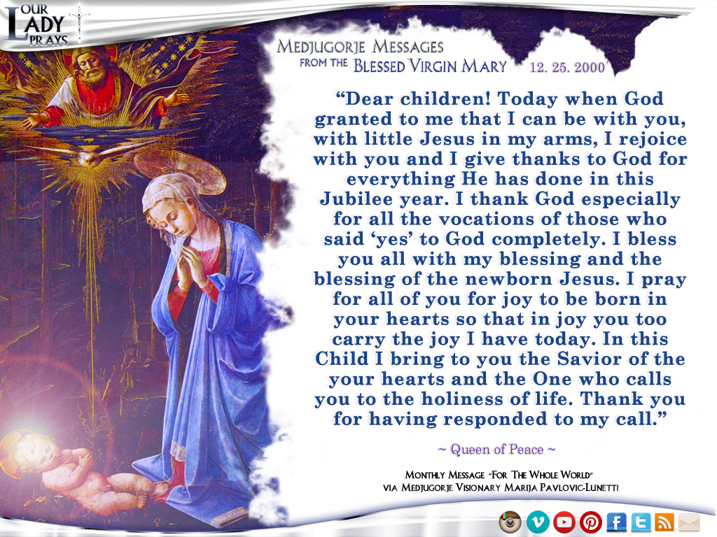 Medjugorje Message from the Blessed Virgin Mary, December 25, 2000