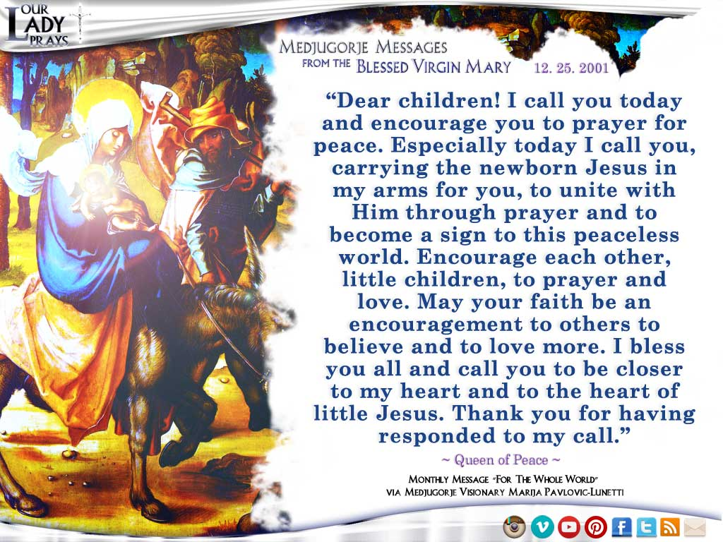 Medjugorje Message from the Blessed Virgin Mary, December 25, 2001