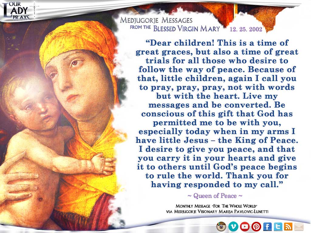 Medjugorje Message from the Blessed Virgin Mary, December 25, 2002