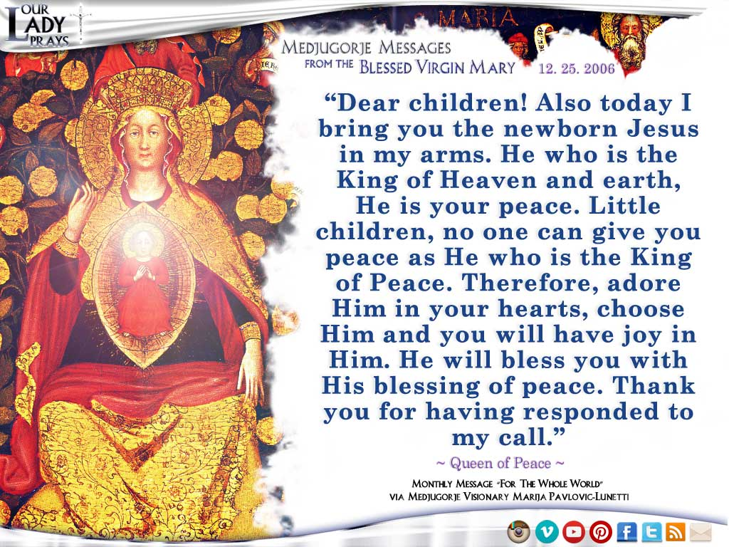 Medjugorje Message from the Blessed Virgin Mary, December 25, 2006