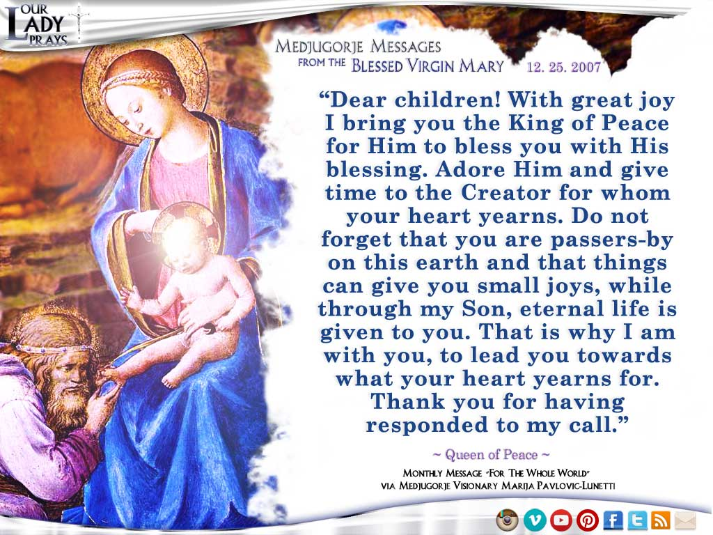 Medjugorje Message from the Blessed Virgin Mary, December 25, 2007