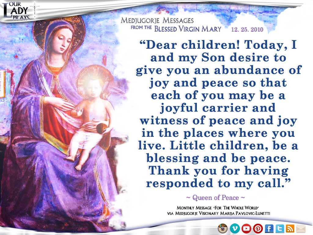 Medjugorje Message from the Blessed Virgin Mary, December 25, 2010