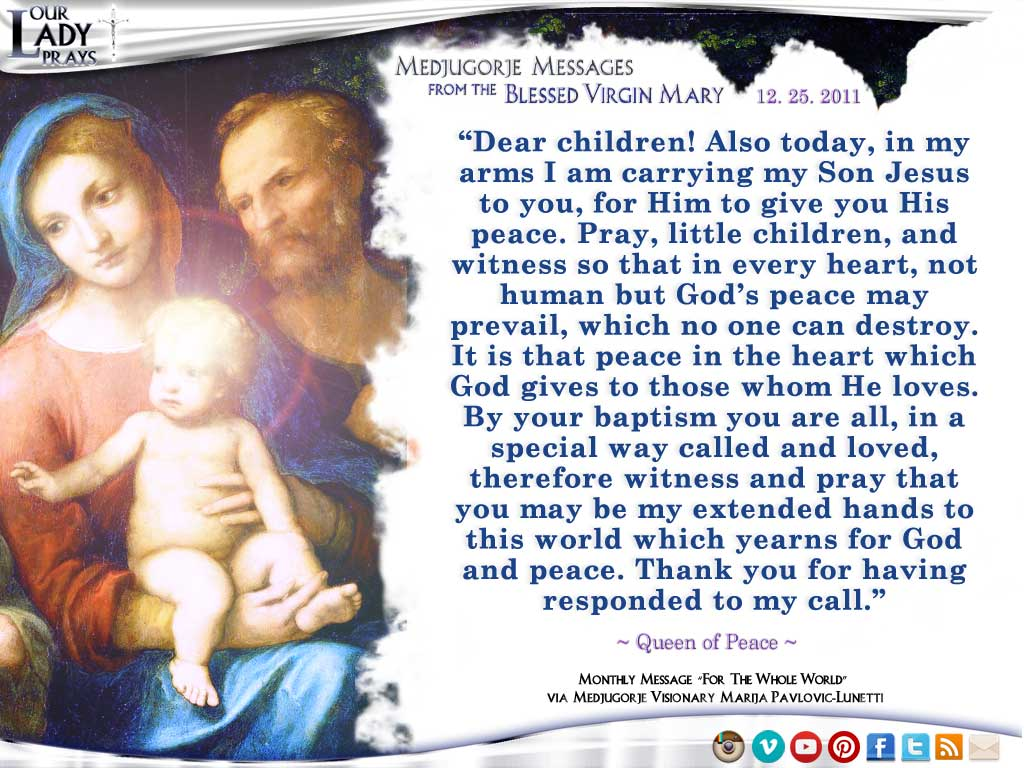 Medjugorje Message from the Blessed Virgin Mary, December 25, 2011