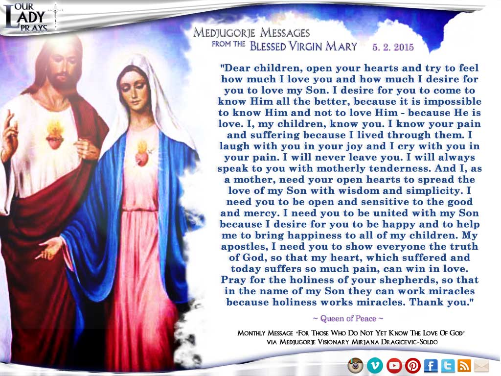 Medjugorje Message from the Blessed Virgin Mary, May 2, 2015