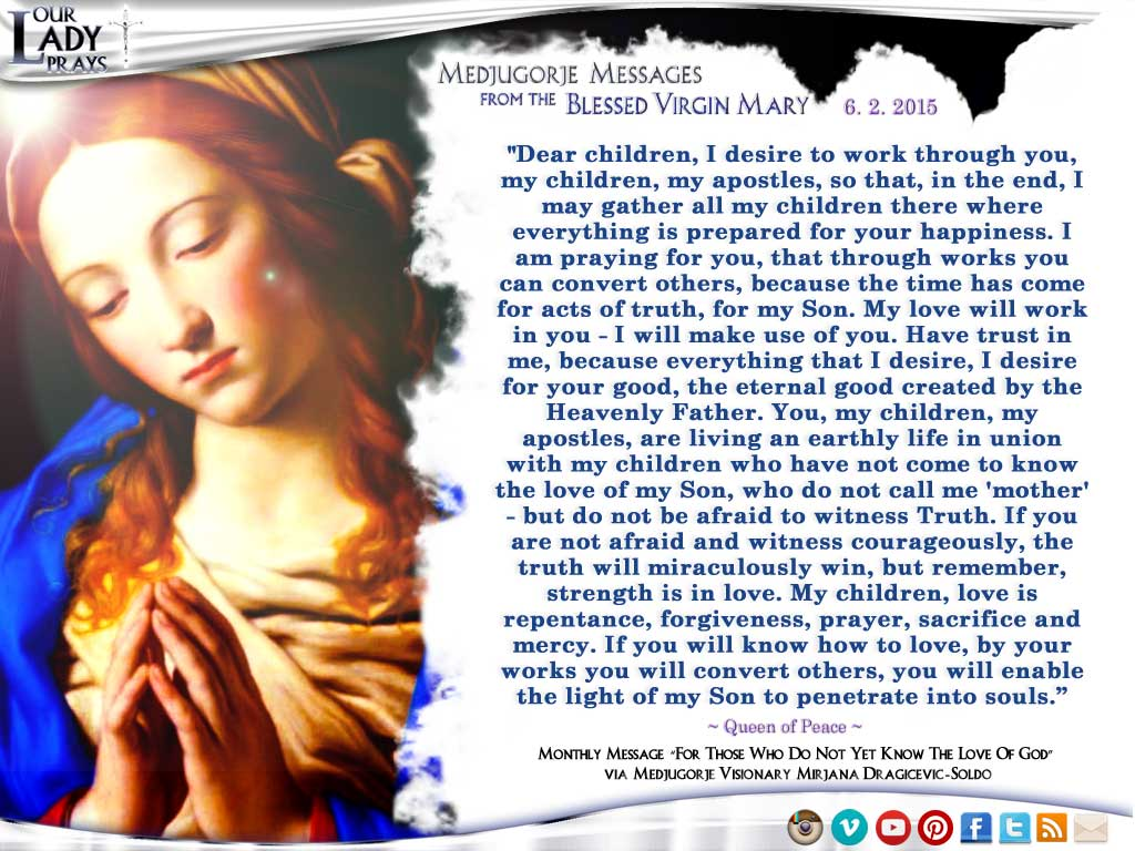 Medjugorje Message from the Blessed Virgin Mary, May 2nd, 2015