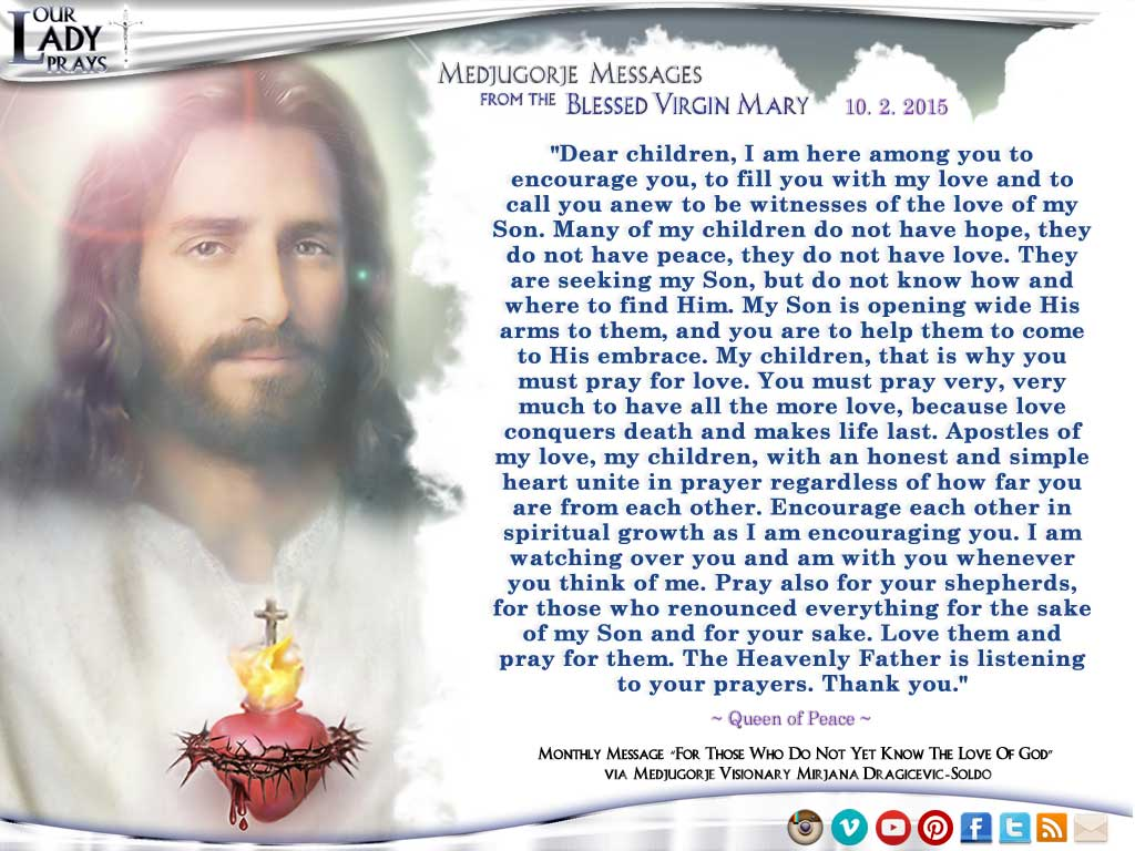 Medjugorje Message from the Blessed Virgin Mary, October 2, 2015