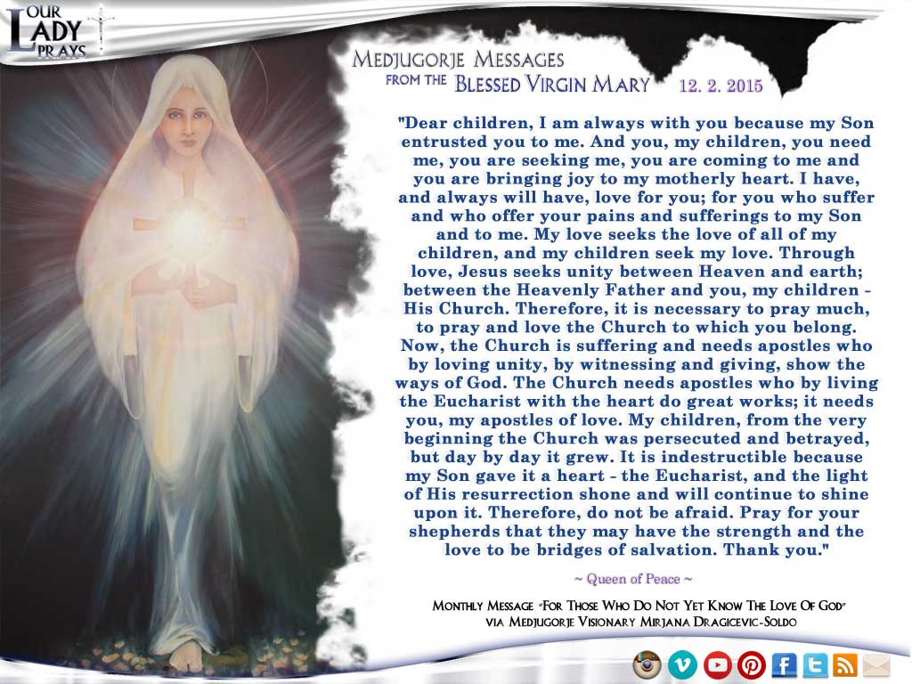 Medjugorje Message from the Blessed Virgin Mary, December 2, 2015