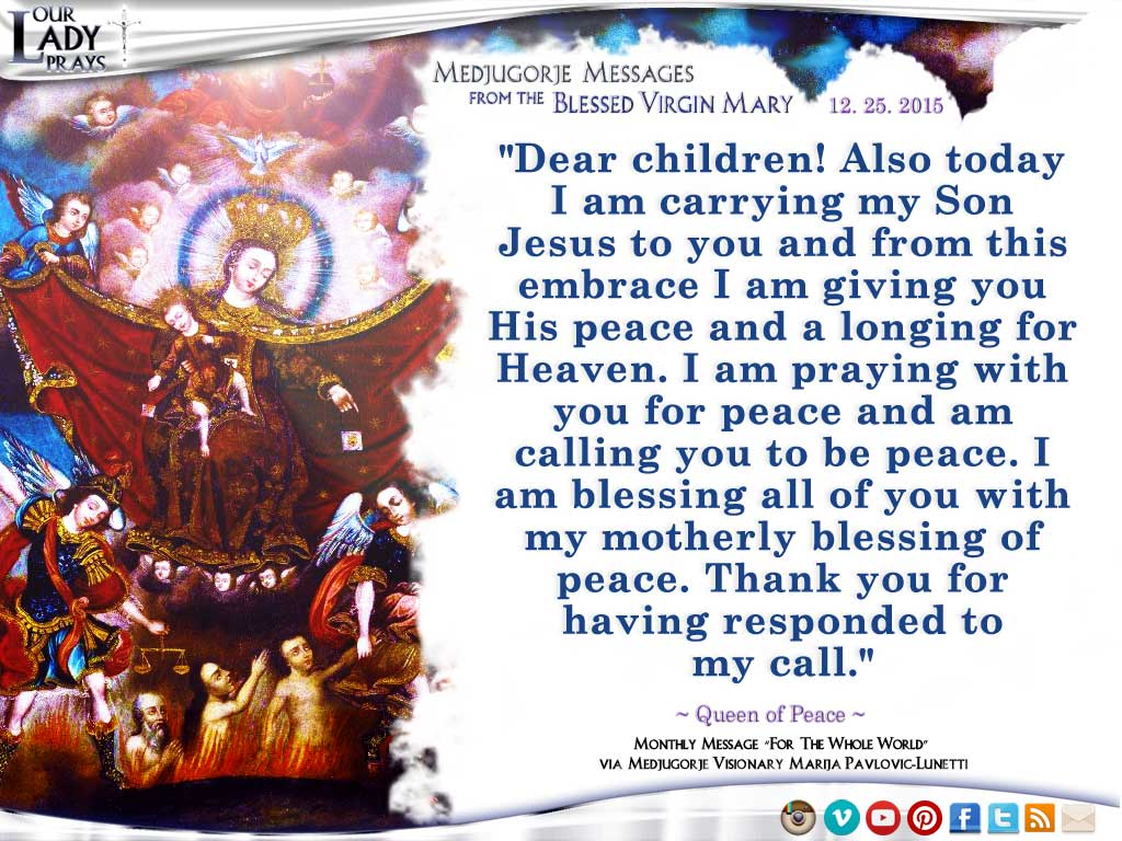 Medjugorje Message from the Blessed Virgin Mary, December 25, 2015
