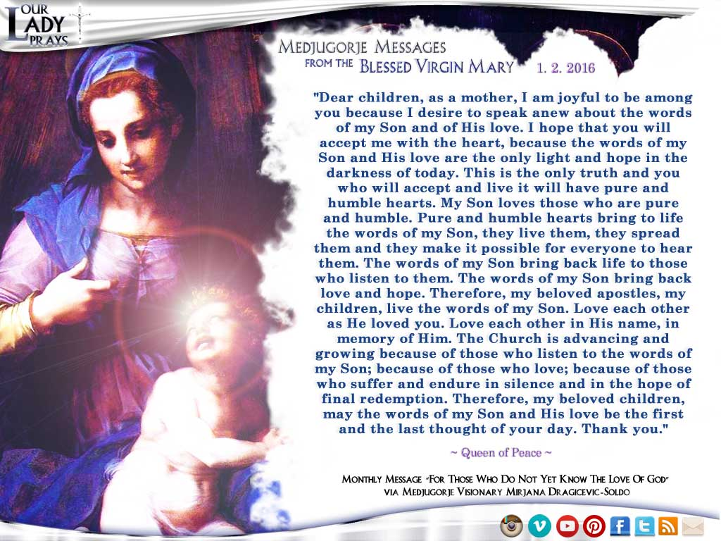 Medjugorje Message from the Blessed Virgin Mary, January 2, 2016