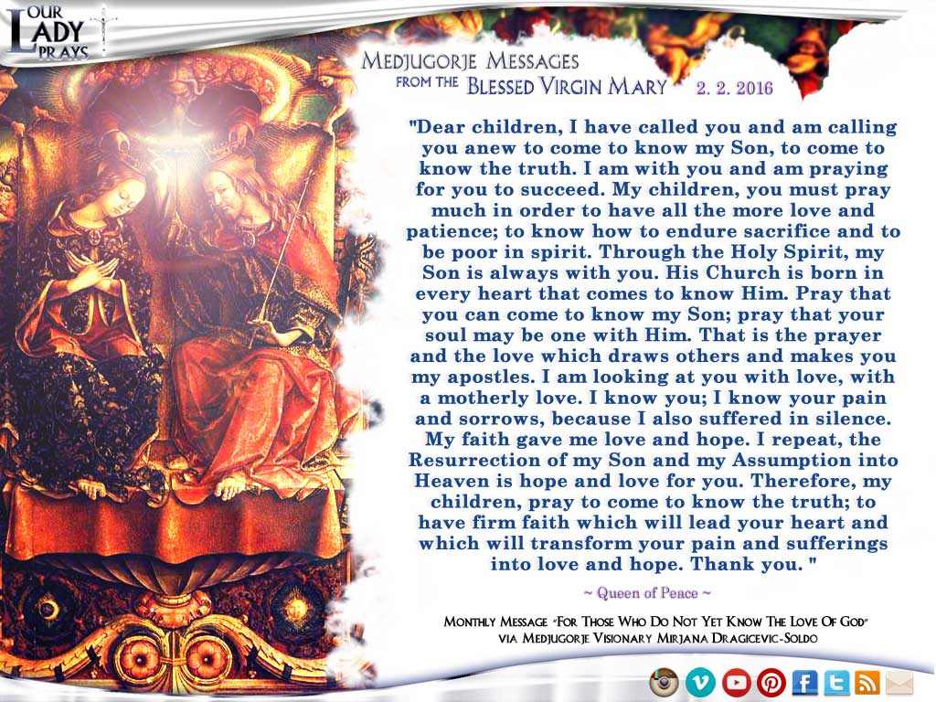 Medjugorje Message from the Blessed Virgin Mary, February 2, 2016