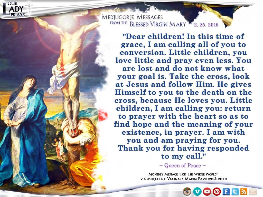 Medjugorje Message from the Blessed Virgin Mary, February 25, 2016
