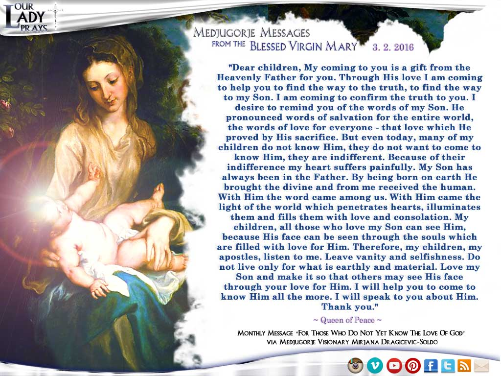 Medjugorje Message from the Blessed Virgin Mary, March 25, 2016