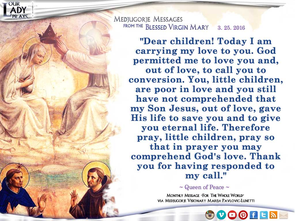 Medjugorje Message from the Blessed Virgin Mary March 25, 2016