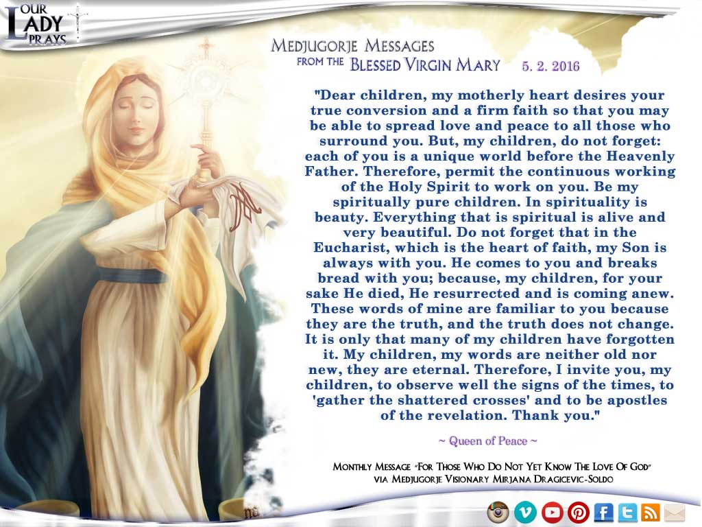 Medjugorje Message from the Blessed Virgin Mary, May 2, 2016