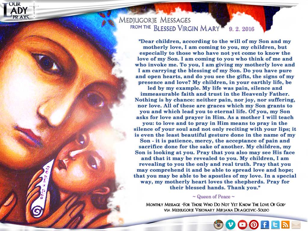 Medjugorje Message from the Blessed Virgin Mary  9.2.2016