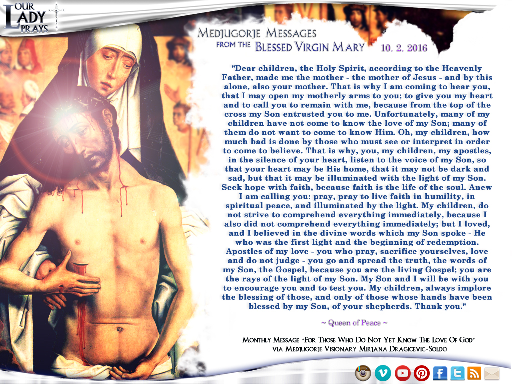 Medjugorje Message from the Blessed Virgin Mary, October 2, 2016
