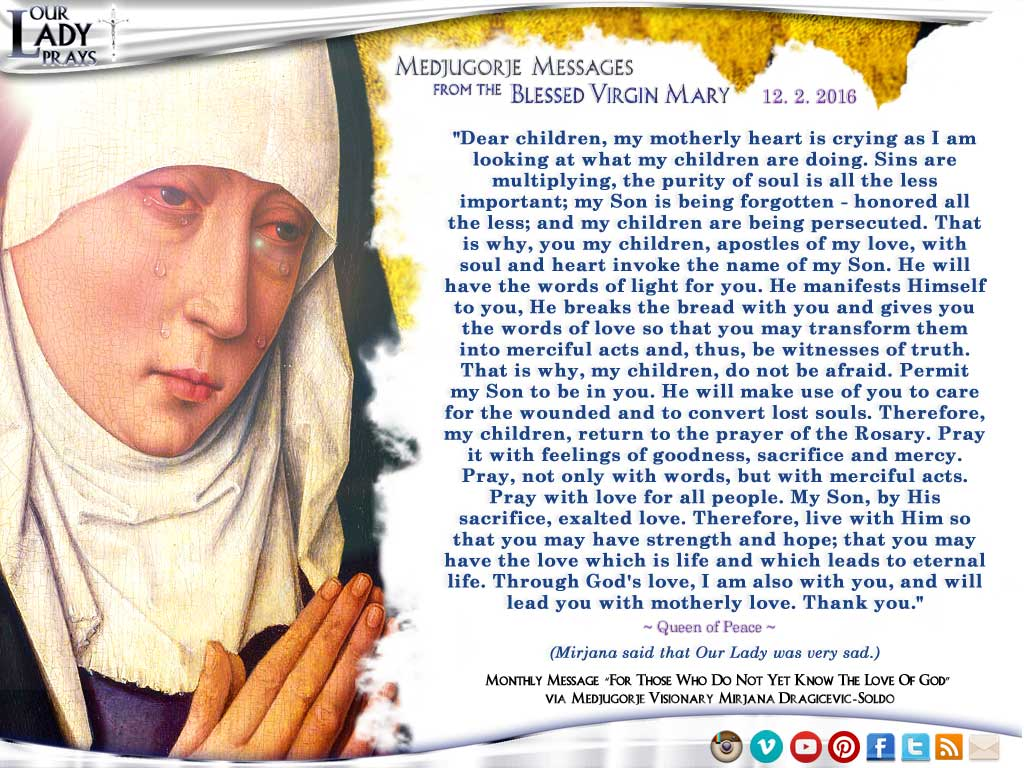 Medjugorje Message from the Blessed Virgin Mary, December 2, 2016