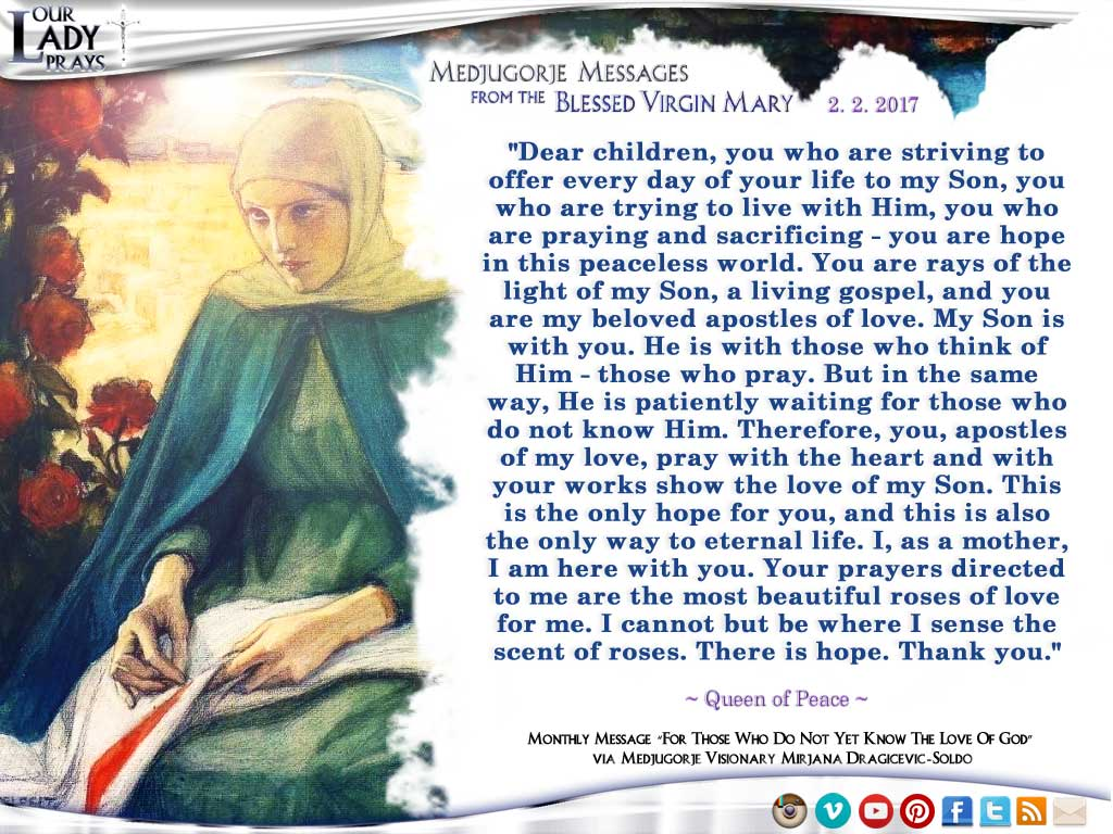 Medjugorje Message from the Blessed Virgin Mary, February 2, 2017