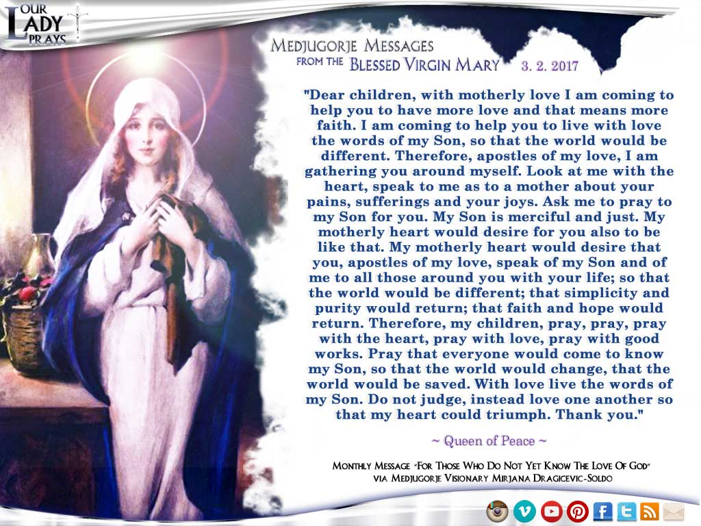 Medjugorje Message from the Blessed Virgin Mary, March 2, 2017