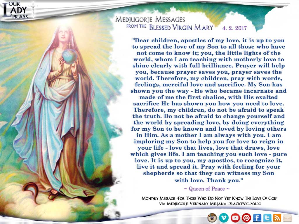 Medjugorje Message from the Blessed Virgin Mary, April 2, 2017
