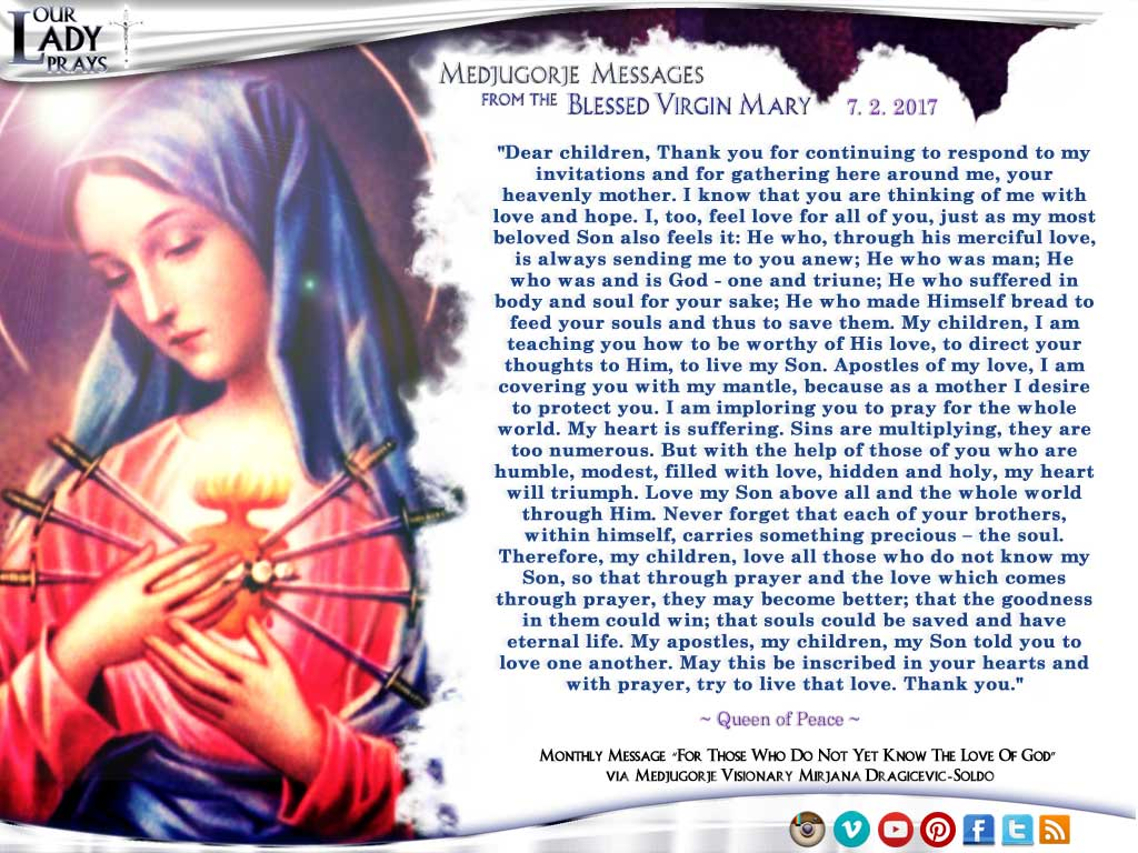 Medjugorje Message from the Blessed Virgin Mary, July 2, 2017