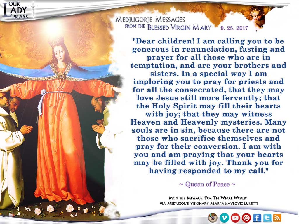 Medjugorje Message from the Blessed Virgin Mary, September 25, 2017
