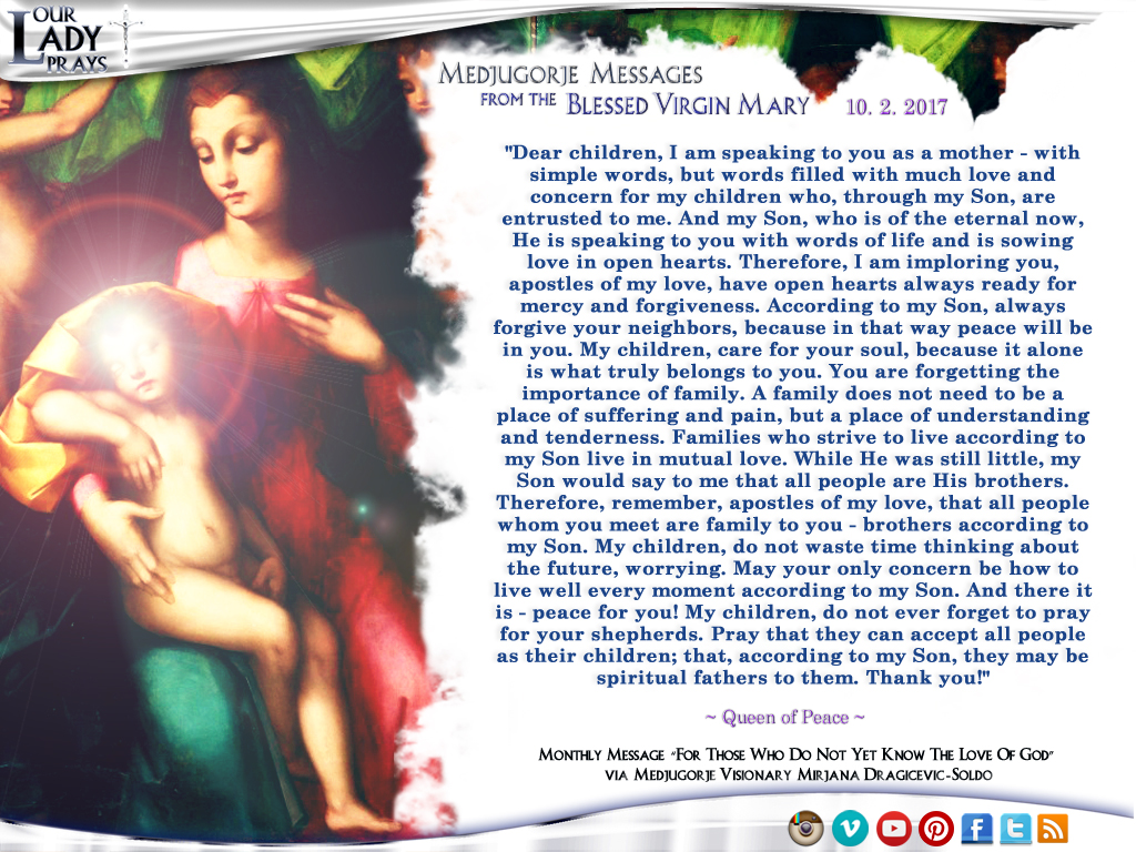 Medjugorje Message from the Blessed Virgin Mary, October 2, 2017