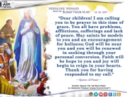Medjugorje Message from the Blessed Virgin Mary, October 25, 2017