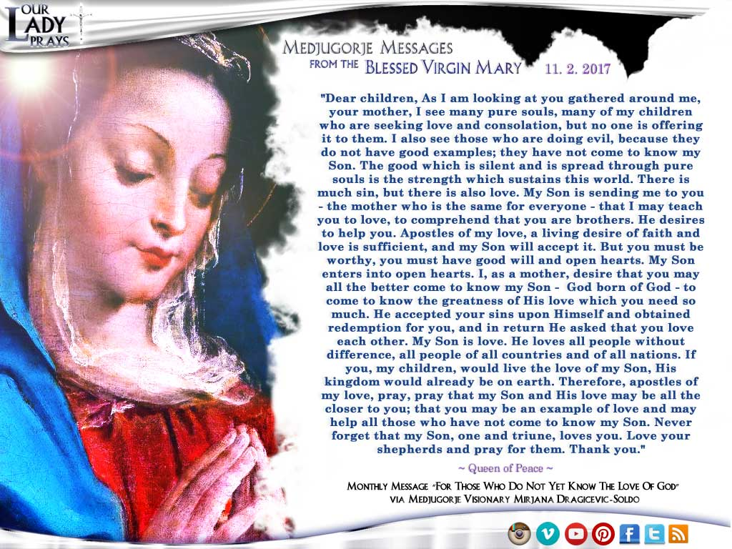 Medjugorje Message from the Blessed Virgin Mary, November 2, 2017