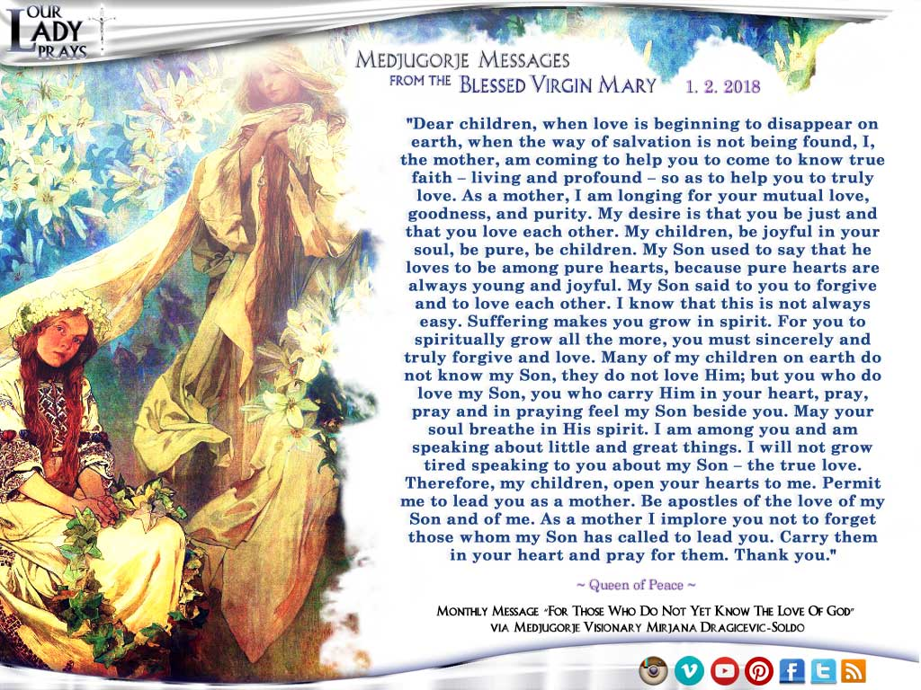 Medjugorje Message from the Blessed Virgin Mary, January 2, 2018