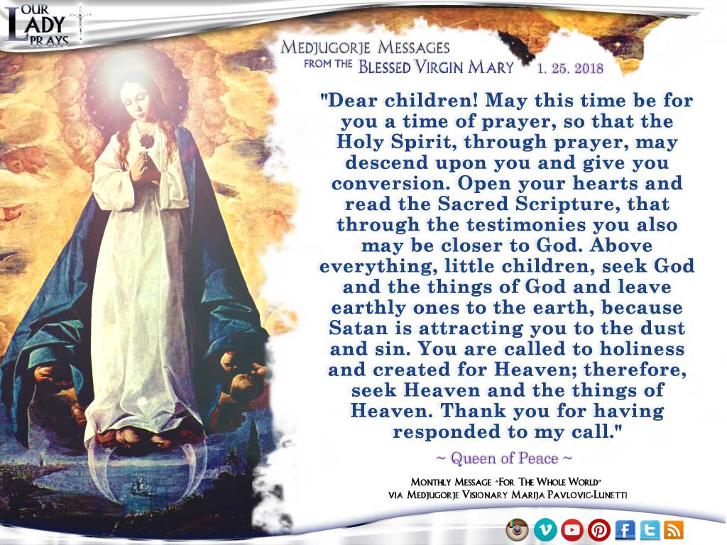 Medjugorje Message from the Blessed Virgin Mary, January 25, 2018