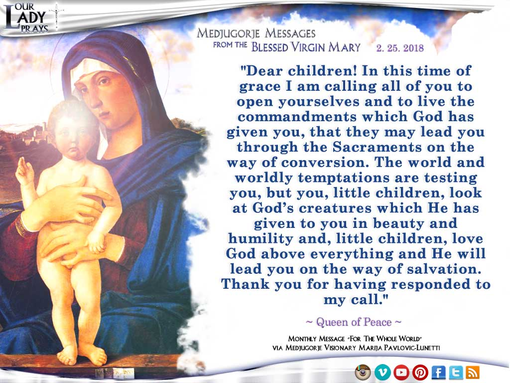 Medjugorje Message from the Blessed Virgin Mary, February 25, 2018