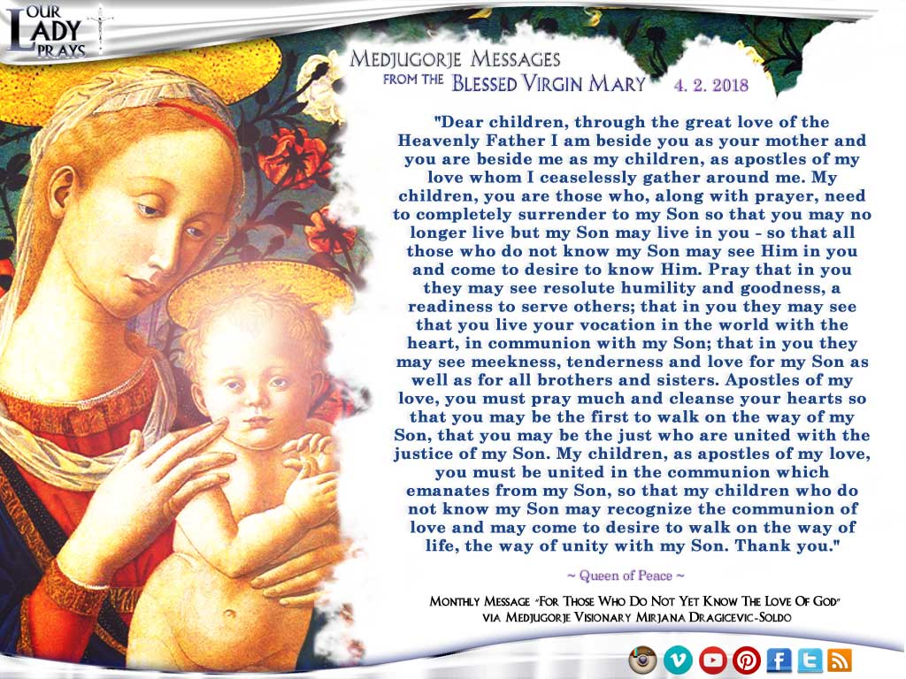 Medjugorje Message from the Blessed Virgin Mary, April 2, 2018