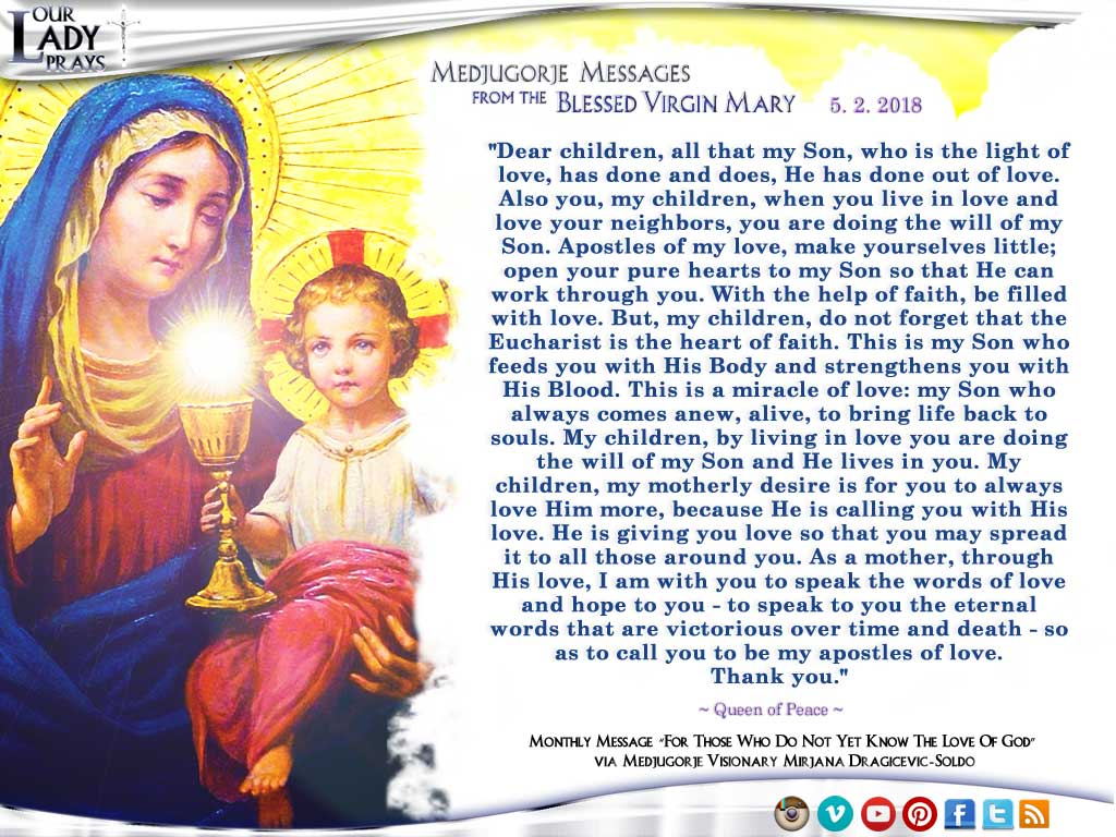 Medjugorje Message from the Blessed Virgin Mary, May 2, 2018