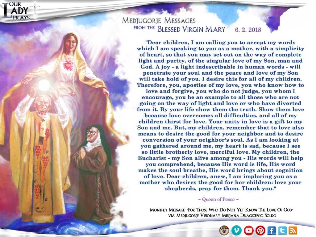 Medjugorje Message from the Blessed Virgin Mary, June 2, 2018