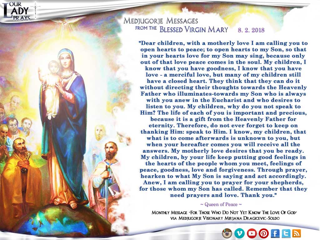 Medjugorje Message from the Blessed Virgin Mary, August 2, 2018