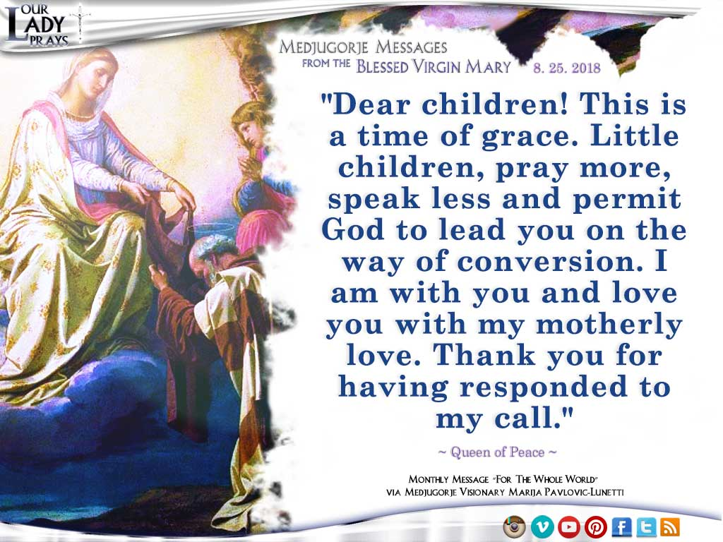 Medjugorje Message from the Blessed Virgin Mary, August 25, 2018